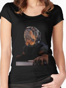 Regal and Proud Male Rottweiler Portrait Isolated Women's Fitted Scoop T-Shirt