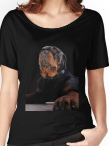 Regal and Proud Male Rottweiler Portrait Isolated Women's Relaxed Fit T-Shirt