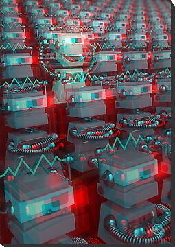 Retro 3D Robot Cinema by chayground