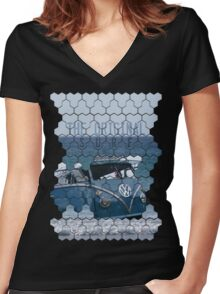 Original Surf Bus Geo Women's Fitted V-Neck T-Shirt