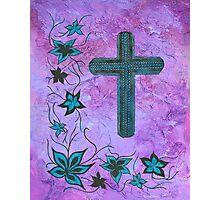Blue cross on purple Photographic Print