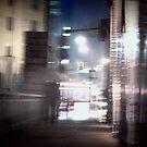 Shanghai, night, rain. by Jean-Luc Rollier