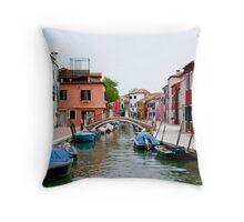 Venice, Burano island canal Throw Pillow