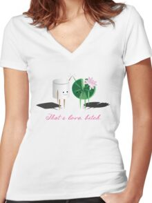 Marshmellow and Lilypad Women's Fitted V-Neck T-Shirt