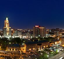 Panoramic view of Downtown Providence at Night by iamkp