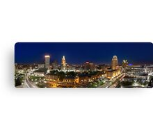Panoramic view of Downtown Providence at Night Canvas Print