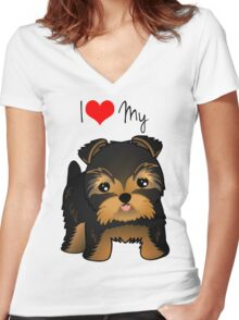 Cute Yorshire Terrier Puppy Dog Women's Fitted V-Neck T-Shirt