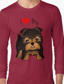 Cute Yorshire Terrier Puppy Dog Long Sleeve T-Shirt