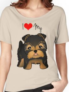 Cute Yorshire Terrier Puppy Dog Women's Relaxed Fit T-Shirt
