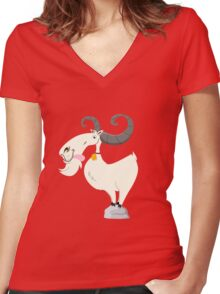 Goat is cool Women's Fitted V-Neck T-Shirt