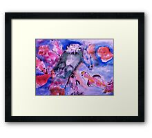 Koi and lilie pad. watercolor Framed Print