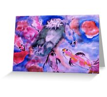Koi and lilie pad. watercolor Greeting Card