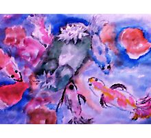 Koi and lilie pad. watercolor Photographic Print