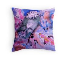 Koi and lilie pad. watercolor Throw Pillow