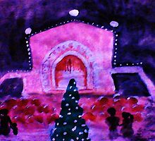 Balbia Park at Christmas, the Organ Pavillian, watercolor by Anna  Lewis