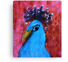 The head of a male Peacock, series, watercolor Canvas Print
