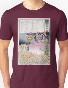 Humorous picture showing Chinese religious practices  Raijin the Japanese God of Thunder ranting to a crowd of Chinese Buddhist worshippers 001 Unisex T-Shirt