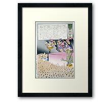 Humorous picture showing Chinese religious practices  Raijin the Japanese God of Thunder ranting to a crowd of Chinese Buddhist worshippers 001 Framed Print