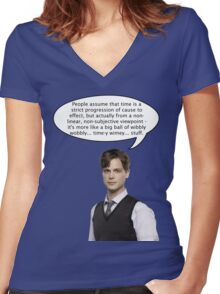 spencer reid quotes the doctor Women's Fitted V-Neck T-Shirt