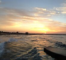 Tel Aviv Pier at Sunset by coffeesketching