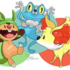 Chespin, Froakie, and Fennekin by TinySkye
