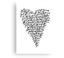 je t'aime ♥ i love you Canvas Print