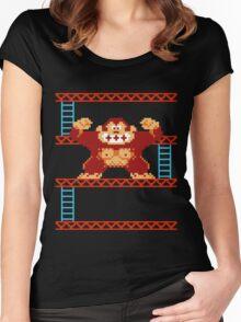Classic 8 bit monkey  Women's Fitted Scoop T-Shirt
