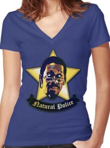 """Natural Po-lice  (""""The Wire"""") Women's Fitted V-Neck T-Shirt"""