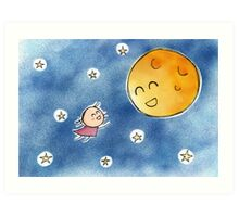 Hello Moon Friend Art Print