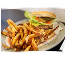 French Fries with Hamburger Poster