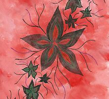 Green floral on reds by ArtisticVizionz
