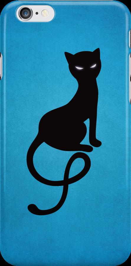 Blue Gracious Evil Black Cat IPhone Case by Boriana Giormova