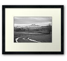 Twin Peaks Mt Meeker and Longs Peak BW Country Framed Print