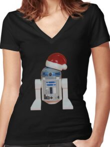 R2-D2 Santa Women's Fitted V-Neck T-Shirt