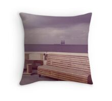 Gulf of Mexico, Summer Storm, Offshore Oilfield, United States Coast Guard Cutter VALIANT on Patrol (1975-1977). Throw Pillow