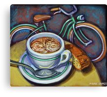 Green Schwinn bicycle with cappuccino and biscotti. Canvas Print