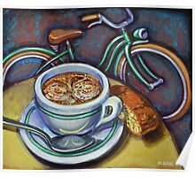 Green Schwinn bicycle with cappuccino and biscotti. Poster