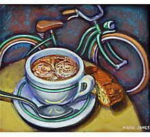 Green Schwinn bicycle with cappuccino and biscotti. Photographic Print