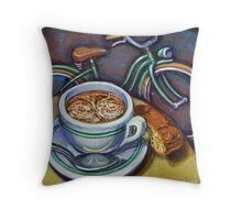 Green Schwinn bicycle with cappuccino and biscotti. Throw Pillow