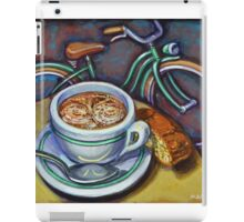 Green Schwinn bicycle with cappuccino and biscotti. iPad Case/Skin