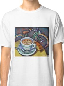 Green Schwinn bicycle with cappuccino and biscotti. Classic T-Shirt