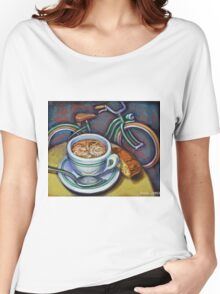 Green Schwinn bicycle with cappuccino and biscotti. Women's Relaxed Fit T-Shirt