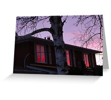 Windows of reflected pink clouds Greeting Card
