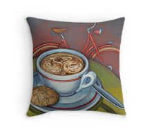 Red Dutch Bicycle with Cappuccino and Amaretti Throw Pillow