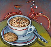 Red Dutch Bicycle with Cappuccino and Amaretti by markhowardjones