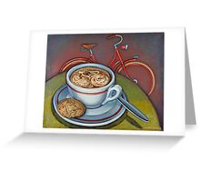 Red Dutch Bicycle with Cappuccino and Amaretti Greeting Card