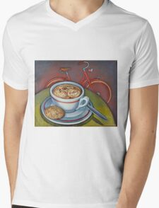Red Dutch Bicycle with Cappuccino and Amaretti Mens V-Neck T-Shirt