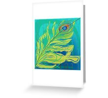 peacock feather blue with binary code writing Greeting Card