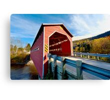 Wooden covered bridge in Quebec, Canada Canvas Print