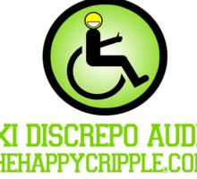 "The Happy Cripple University Tee - ""Vixi Discrepo Audeo"" Sticker"